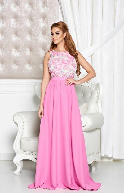 Rochii balul bobocilor: Rochie lunga roz cu flori