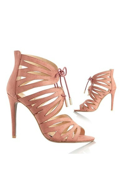 Sandale roz prafuit cu toc