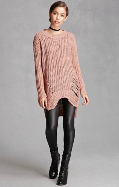 Pulovere lungi: pulover roz rupt