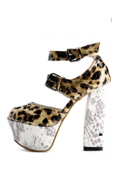 Pantofi cu toc gros si platforma, animal print