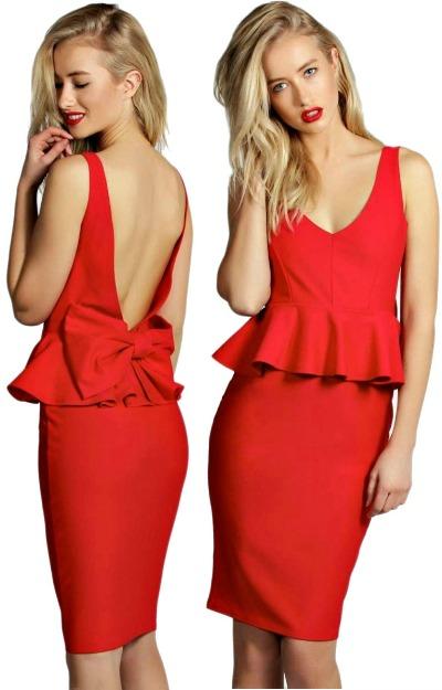 Rochie rosie cu spatele gol
