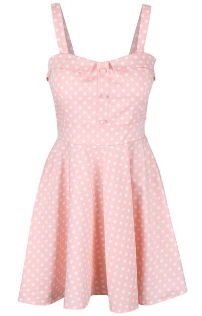 Rochii retro: Rochie roz cu buline