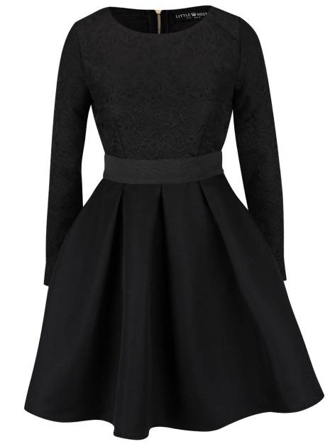 Rochii XXL : rochie neagra cu maneci lungi
