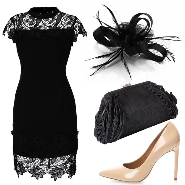 rochie neagră cu dantelă pentru petrecerea de Crăciun
