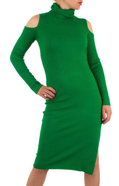 Rochie verde cu guler si umeri decupati