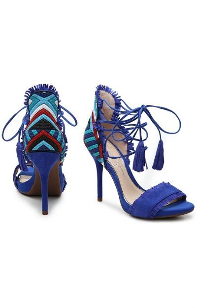 Sandale albastre cu toc si sireturi