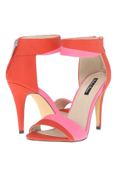 Sandale roz cu rosu cu toc