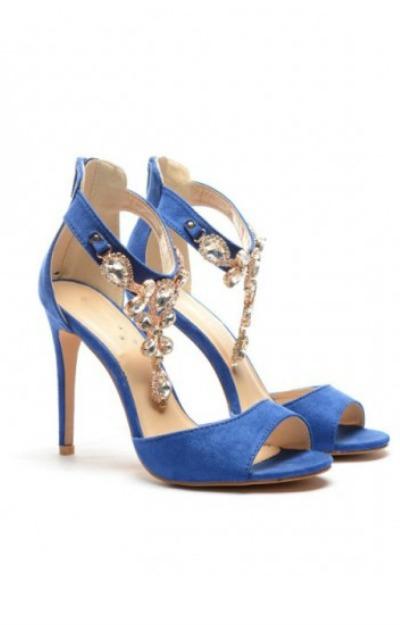 Sandale albastre cu toc subtire