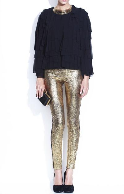 Pantaloni cu aspect metalizat