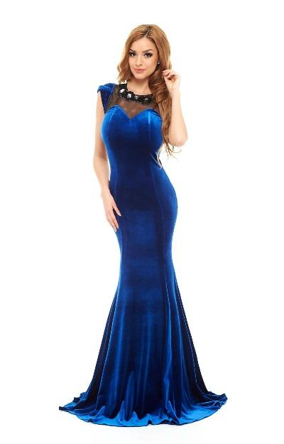 Rochie albastra maxi de catifea