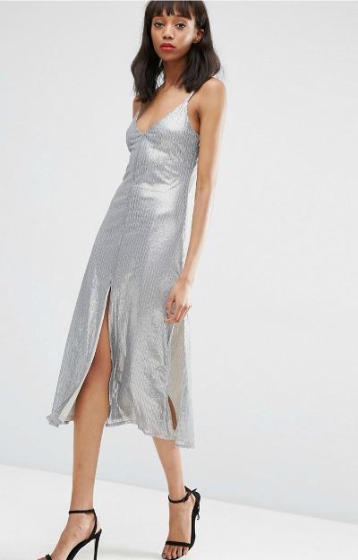 Rochie midi cu slituri si cu paiete argintii