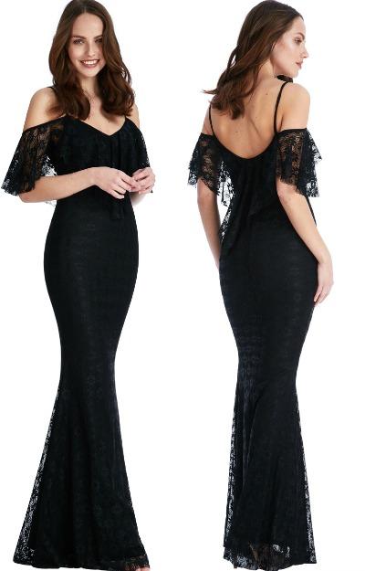 Rochie eleganta, lunga, din dantela, neagra