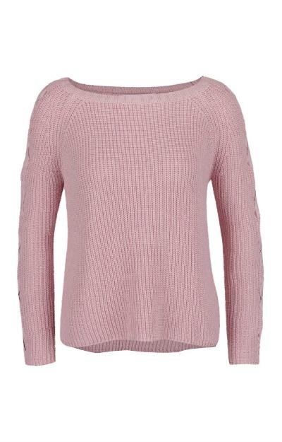 Reduceri la haine: pulover roz prafuit