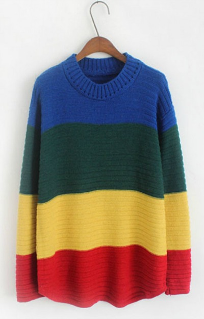 Pulover oversized multicolor