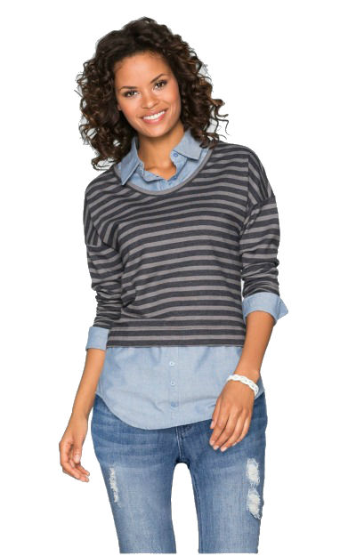 Camasa albastra cu pulover in dungi