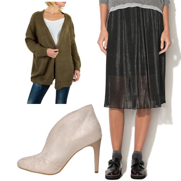 Botine + cardigan + fusta cu pliuri
