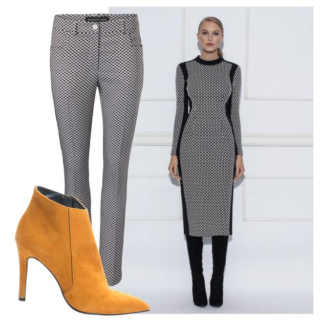Botine + pantaloni eleganti + rochie de zi