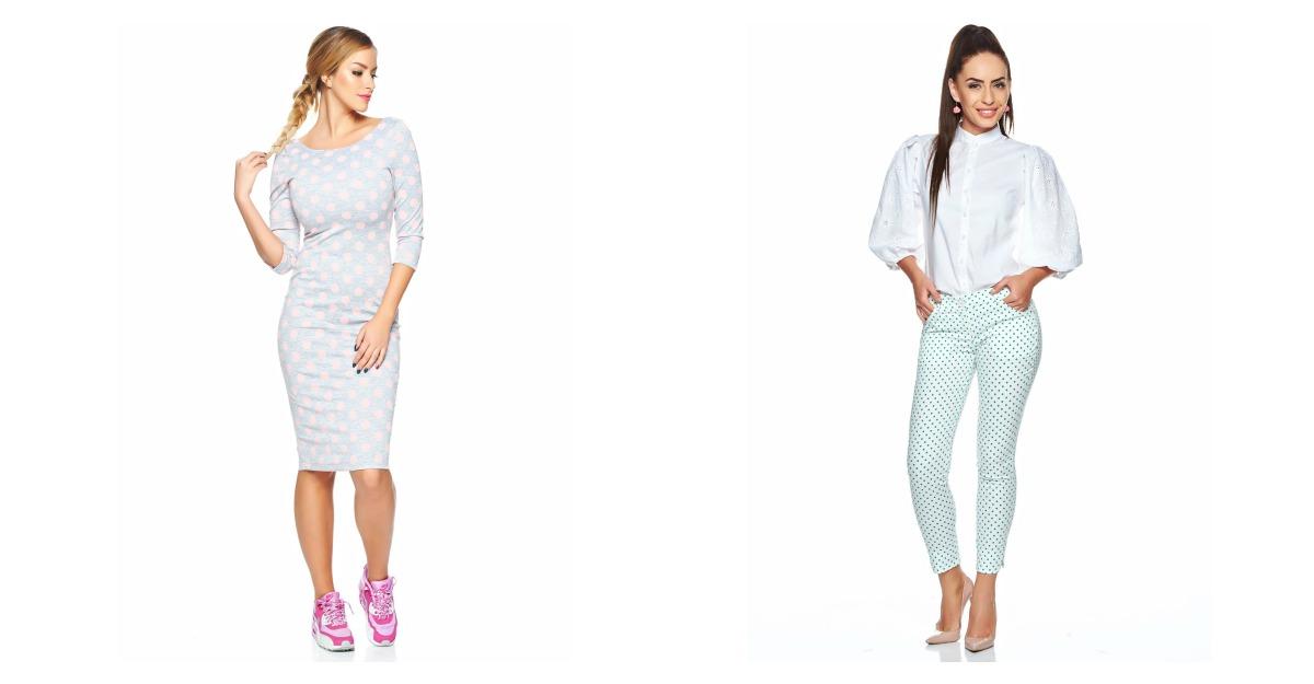 Haine cu buline: rochie midi cu buline roz si pantaloni cu buline albastre