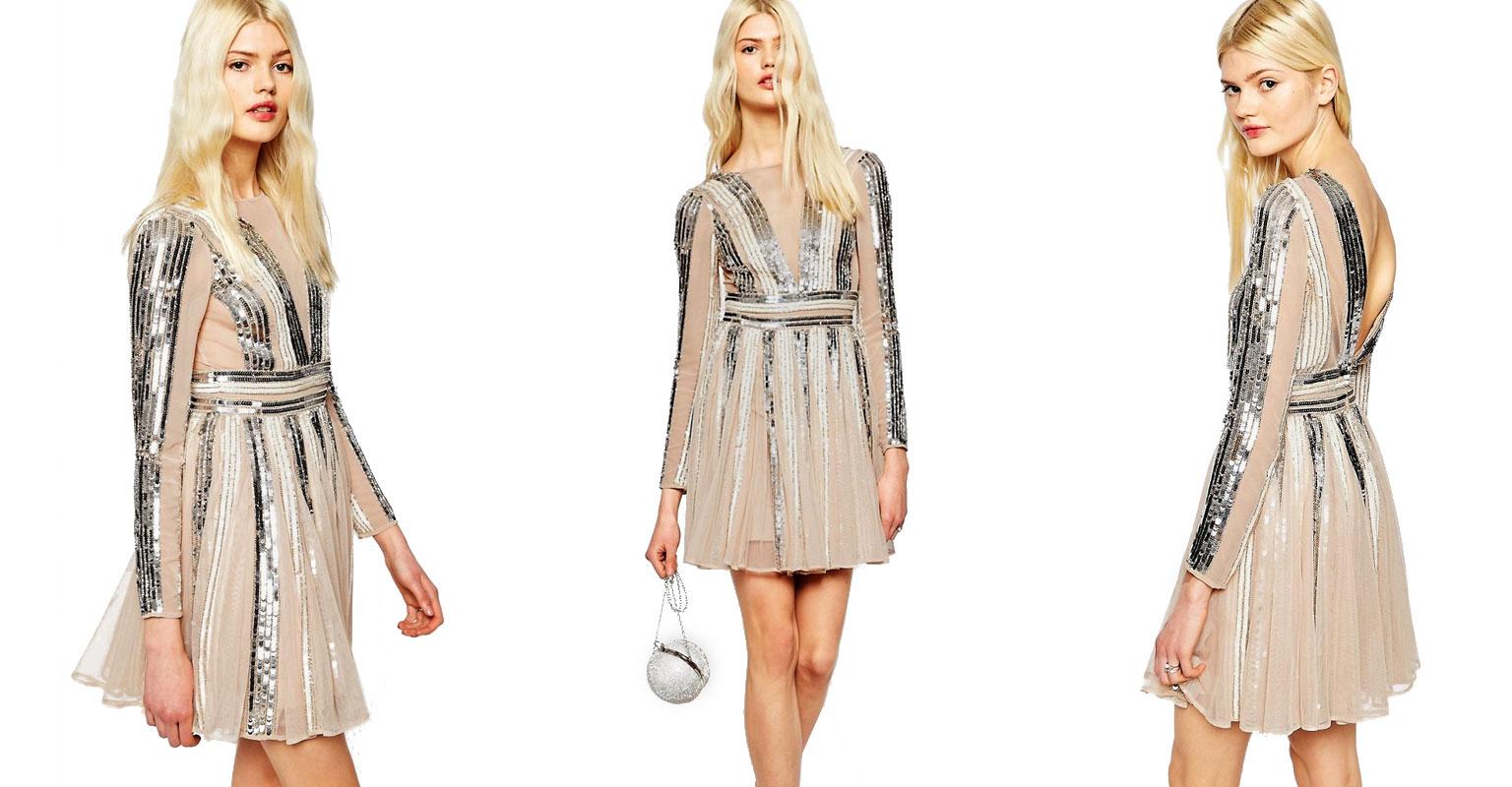 Rochie cu aplicatii argintii