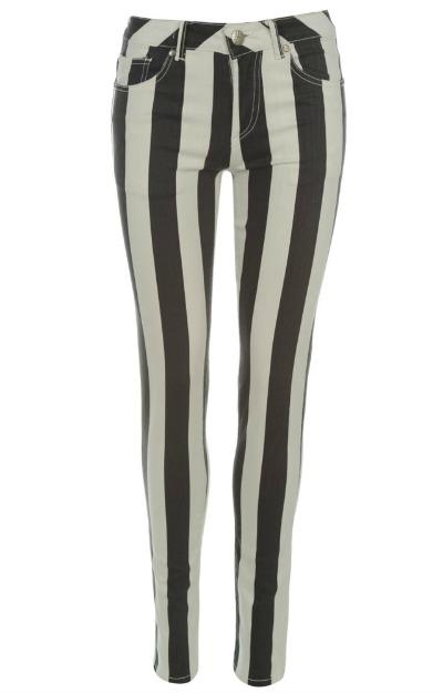 Pantaloni in dungi alb cu negru
