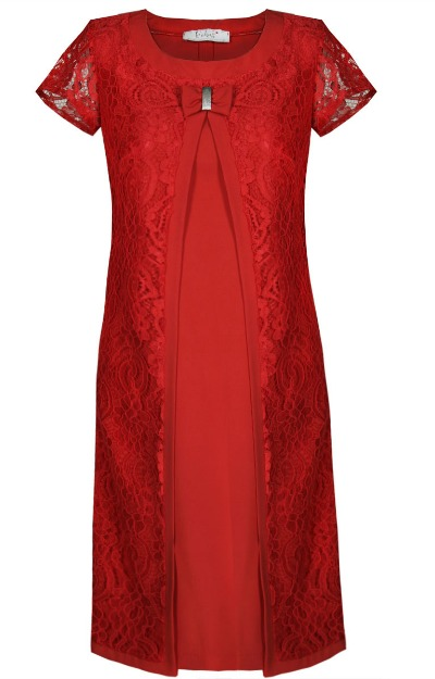 Rochii XXL: rochie rosie cu dantela