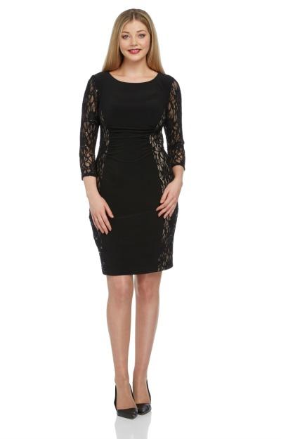 Rochii masuri mari: rochie neagra cu dantela