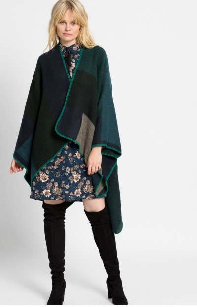Modele de poncho: Poncho verde din tricot