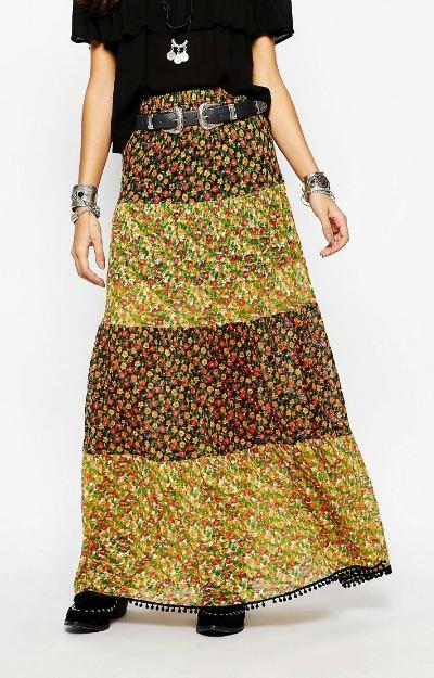 Gipsy Style: Fusta maxi cu imprimeu floral
