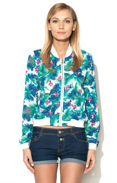 Jacheta bomber cu imprimeu floral