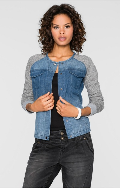 Jachete de blugi: Jacheta cu maneci din tricot