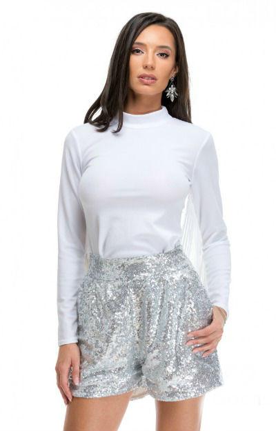 Pantaloni cu paiete: Pantaloni argintii scurti