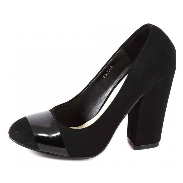 Pantofi negri cu toc gros