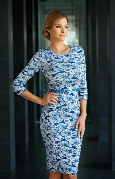 rochie-albastra-cu-imprimeu