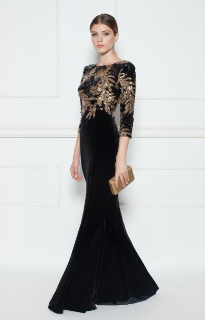 Rochii de seara: Rochie lunga cu aplicatii aurii