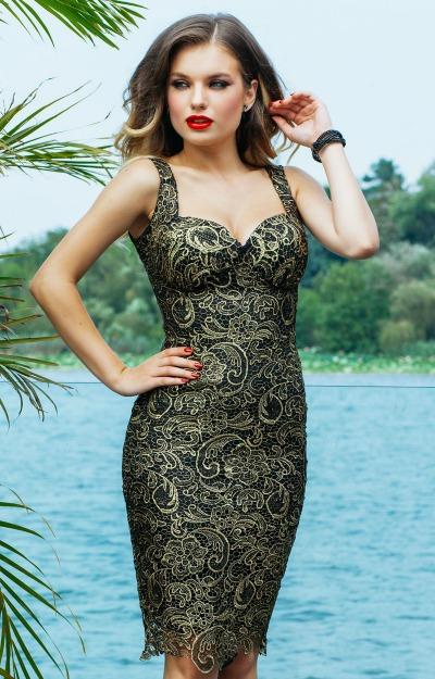 Rochii elegante: Rochie din dantela aurita