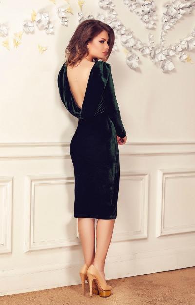 Rochii de Revelion: rochie din catifea cu spatele gol