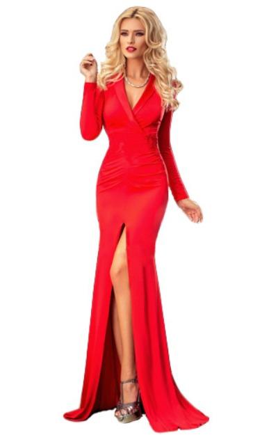 Rochii elegante: Rochie rosie cu maneca lunga