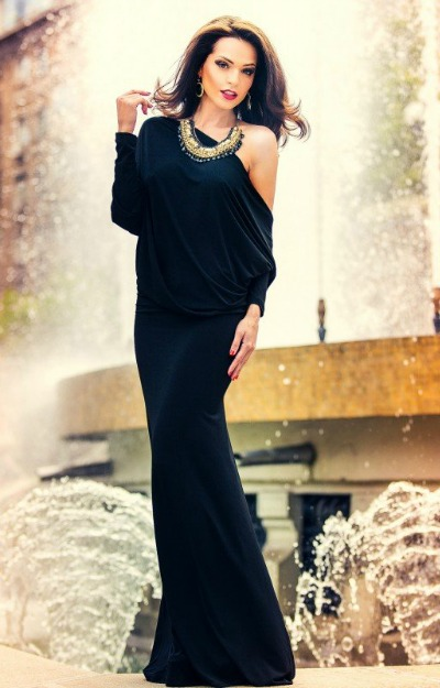 Rochii lungi: rochie-lycra-neagra-de-seara