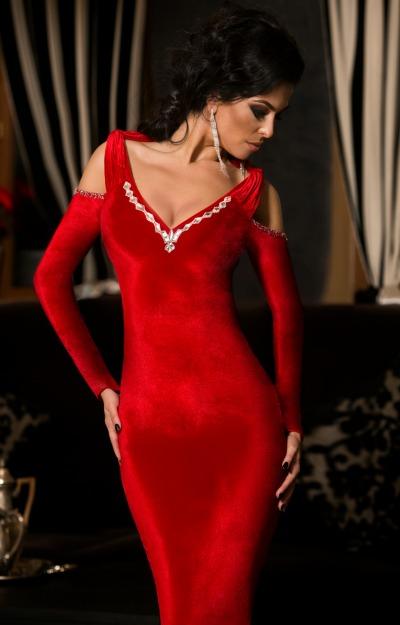 Rochii de seara: Rochie rosie din catifea