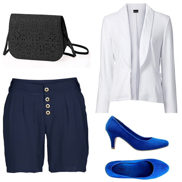 pantaloni scurti, pantofi albastri, sacou alb