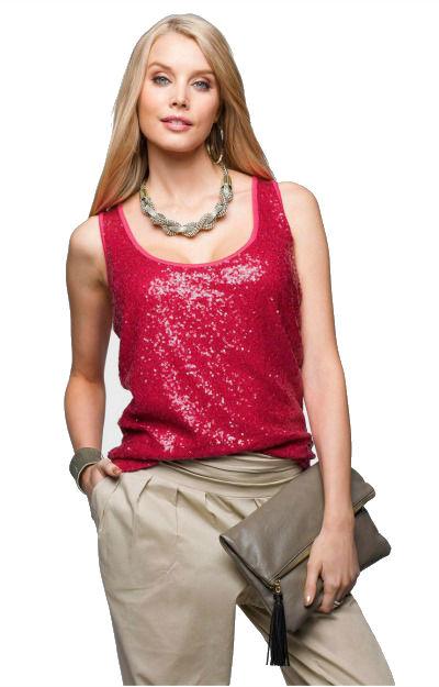 Bluze cu paiete: Top rosu