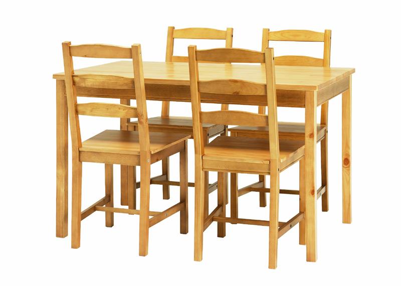 Set masa si patru scaune realizate din lemn masiv de pin cu aspect
