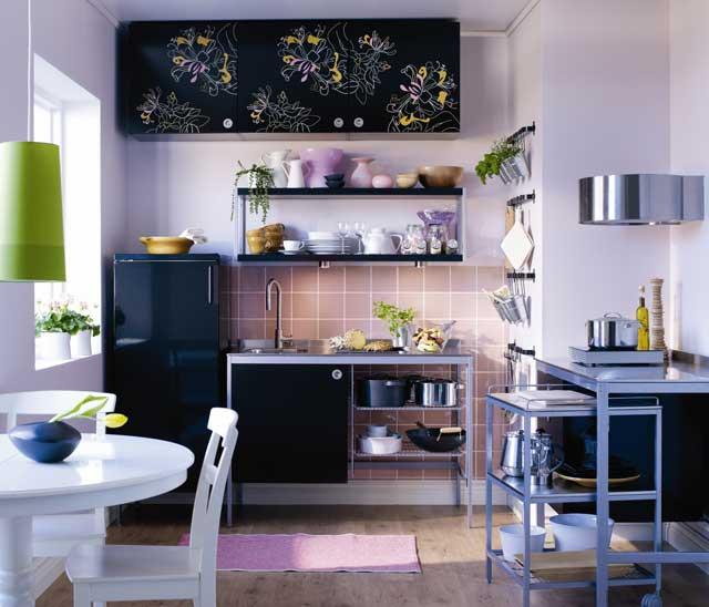 Material textil  Decor in motive florale -> Kuchnia Ikea Udden
