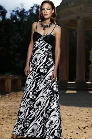 Rochie de seara in culori negru cu alb