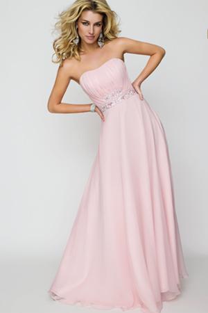 Rochie de seara lunga, roz, fara bretele