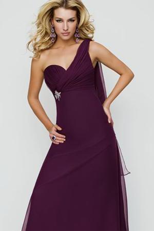Rochie de seara violet cu un umar gol