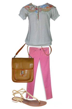Tinute office - Bluza cu broderie Tara Fashion Pret: 69,9 lei Pantaloni roz, Ziggo Pret; - Slide 1 din 13