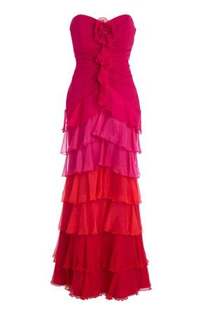 Top 10 rochii lungi - Rochie din voal degrade cu volane suprapuse, Debenhams Pret: nespecificat Pentru - Slide 1 din 11