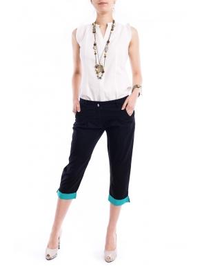 20 de modele de pantaloni pentru vara 2012 - Pantaloni 3/4 negri cu manseta turcoaz in buline   - Slide 1 din 20