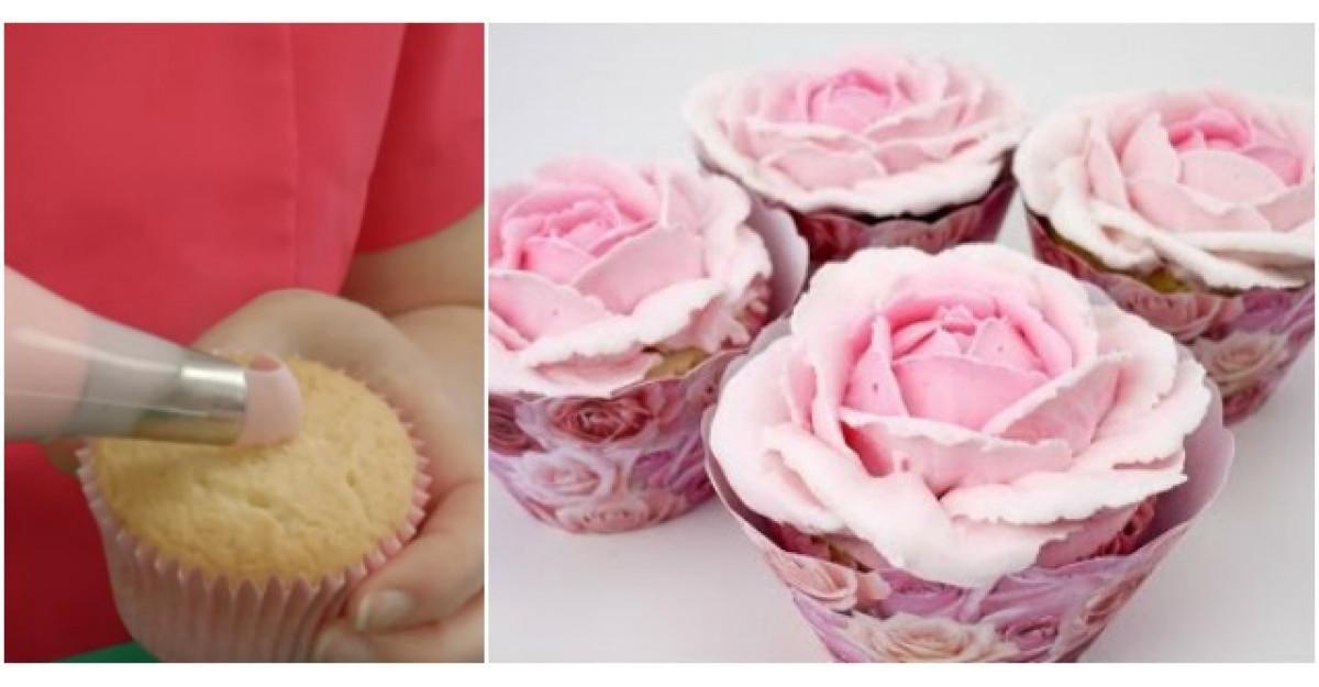 Video: Cum sa faci trandafiri care par REALI pe briose si prajiturele?